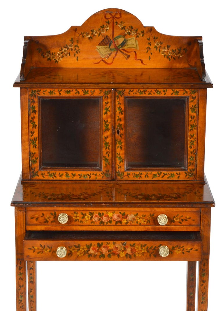 Pair of 19th Century English Adam Style Painted Satinwood Display Cabinet Stands For Sale 3