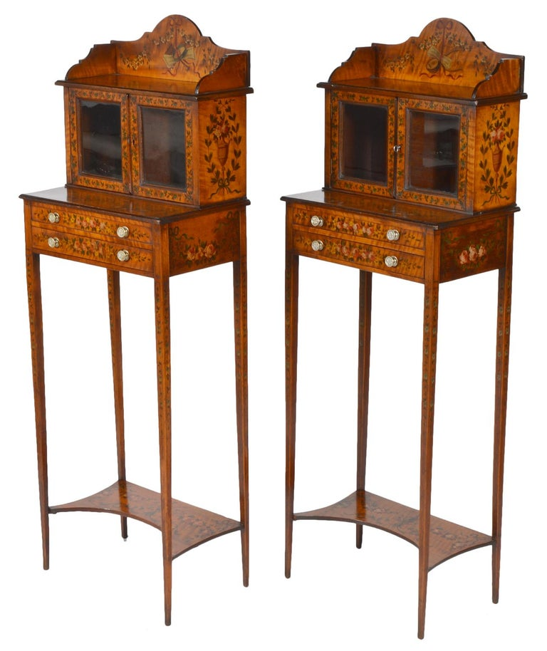 Pair of 19th Century English Adam Style Painted Satinwood Display Cabinet Stands For Sale 5