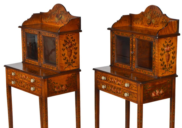 Pair of 19th Century English Adam Style Painted Satinwood Display Cabinet Stands For Sale 6