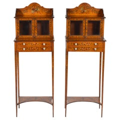 Pair of 19th Century English Adam Style Painted Satinwood Display Cabinet Stands