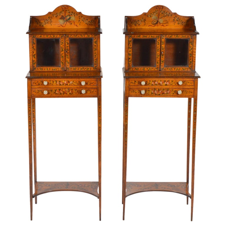 Pair of 19th Century English Adam Style Painted Satinwood Display Cabinet Stands For Sale
