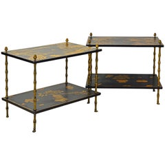Pair of 19th Century English Aesthetic Movement Chinoiserie Two Tier Side Tables