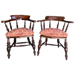 Pair of 19th Century English Armchairs with Pink Cushions