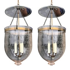 Pair of 19th Century English Brass and Etched Glass Hall Lanterns