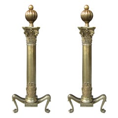 Pair of 19th Century English Brass Andirons with Lions