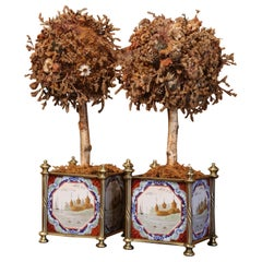 Pair of 19th Century English Brass Jardinières with Hand Painted Porcelain Tiles