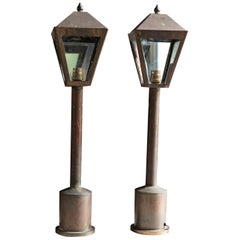 Pair of 19th Century English Brass Pillar Lanterns, circa 1890