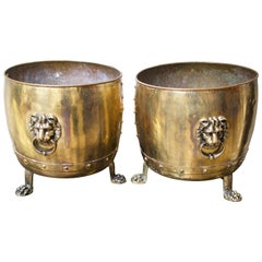 Pair of 19th Century English Brass Planters with Lion Handles