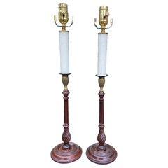 Pair of 19th Century English Candlestick Lamps