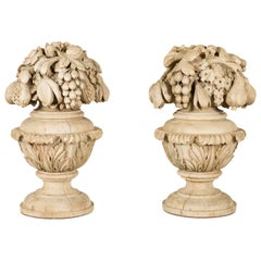 Pair of 19th Century English Carved Fragments with Fruits and Acanthus Leaves
