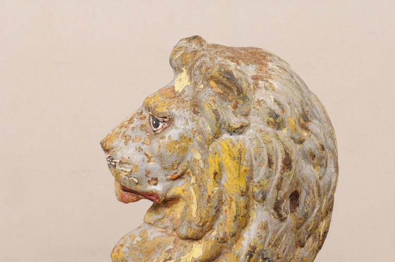 Pair of 19th Century English Cast-Iron Lion Statues For Sale 2