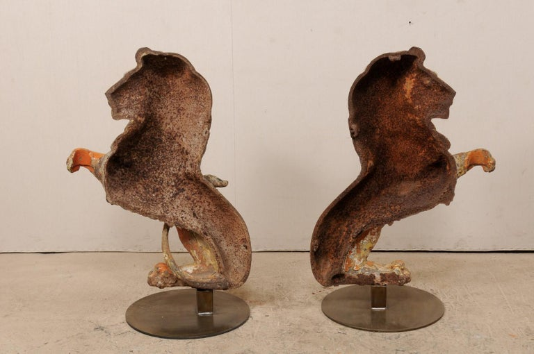 Pair of 19th Century English Cast-Iron Lion Statues For Sale 4