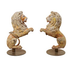 Pair of 19th Century English Cast-Iron Lion Statues, 3.5 Ft Tall