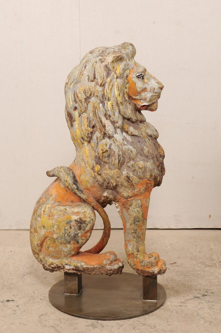 Pair of 19th Century English Cast Iron Sitting Lion Statues In Good Condition For Sale In Atlanta, GA
