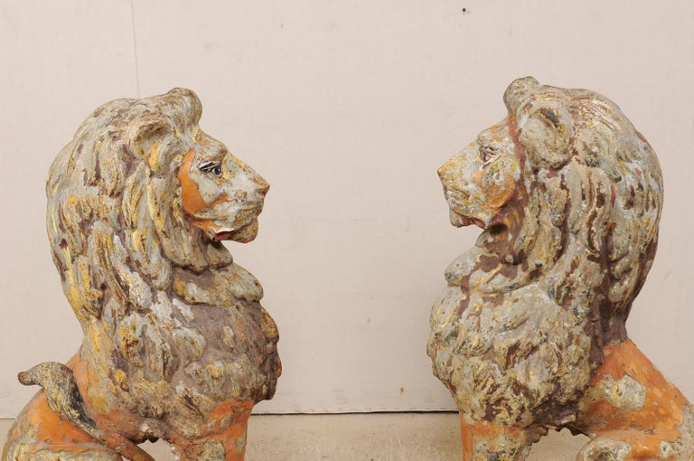 Pair of 19th Century English Cast Iron Sitting Lion Statues For Sale 1