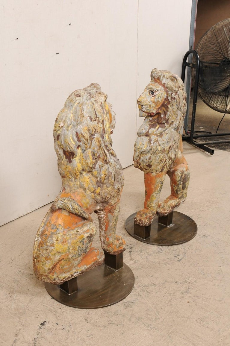 Pair of 19th Century English Cast Iron Sitting Lion Statues For Sale 2
