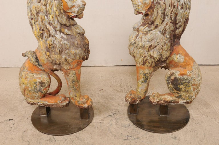 Pair of 19th Century English Cast Iron Sitting Lion Statues For Sale 3
