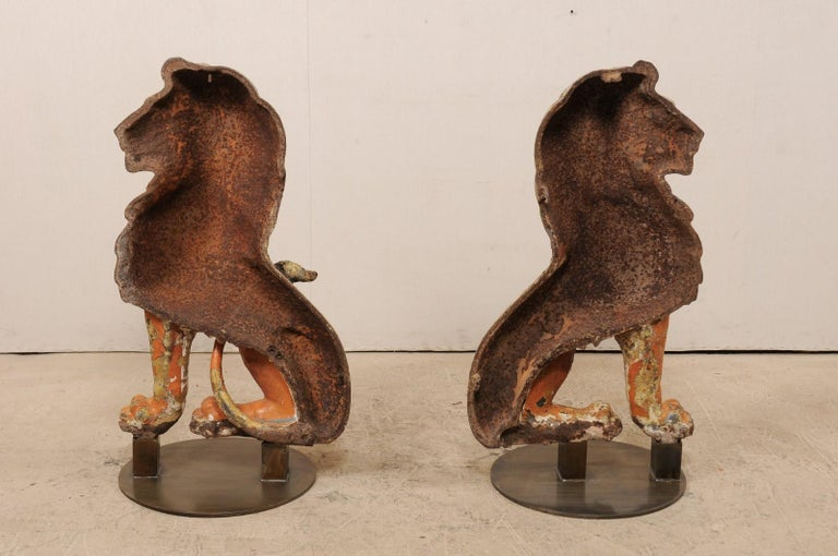 Pair of 19th Century English Cast Iron Sitting Lion Statues For Sale 5