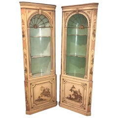 Pair of 19th Century English Chinoiserie Corner Cabinets