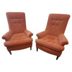 Pair of 19th Century English Club Chairs with Orange Chenille Upholstery