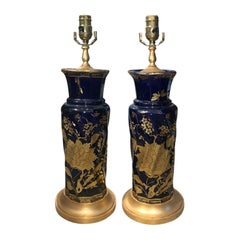 Pair of 19th Century English Cobalt Blue & Gilt Glass Lamps