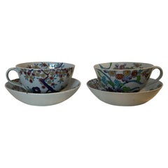 Pair of 19th Century English Copeland Spode Ironstone Porcelain Cups and Saucers