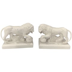 Pair of 19th Century English Creamware/Pearlware Model of the Medici Lions