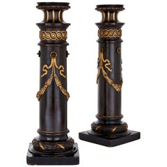 Pair of 19th Century English Ebonized Wood Columns