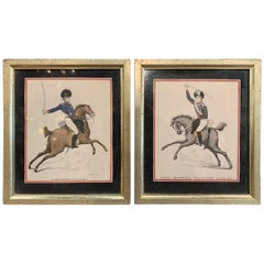 Pair of 19th Century English Framed Hand Painted Cavalry Watercolors