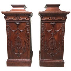 Pair of 19th Century English George III Style Mahogany Pedestal Cabinets