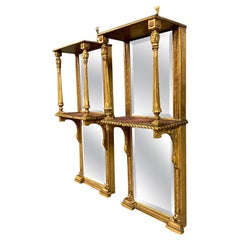 Pair of 19th Century English Gilt Pier Mirrors with Original Bevelled Mirrors