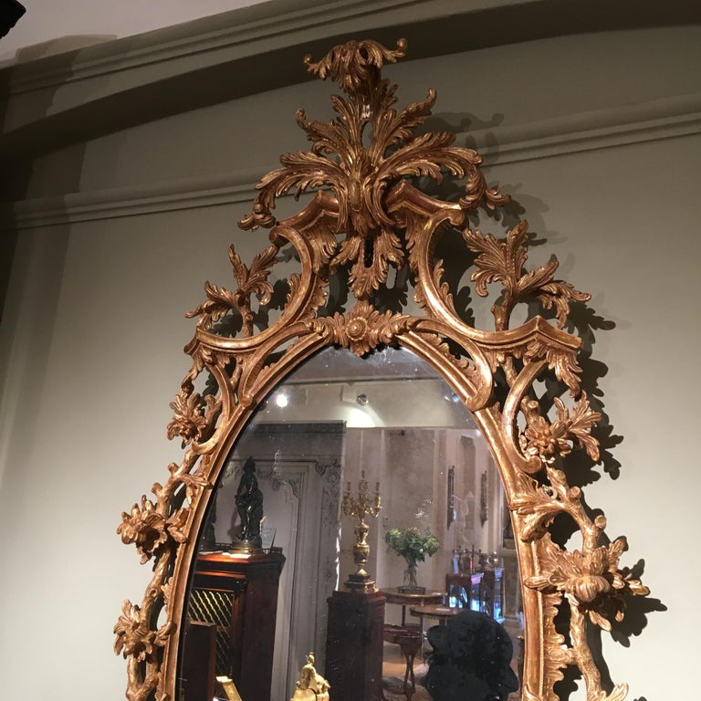 Pair of 19th Century English Giltwood Mirrors in the George III Style For Sale 1