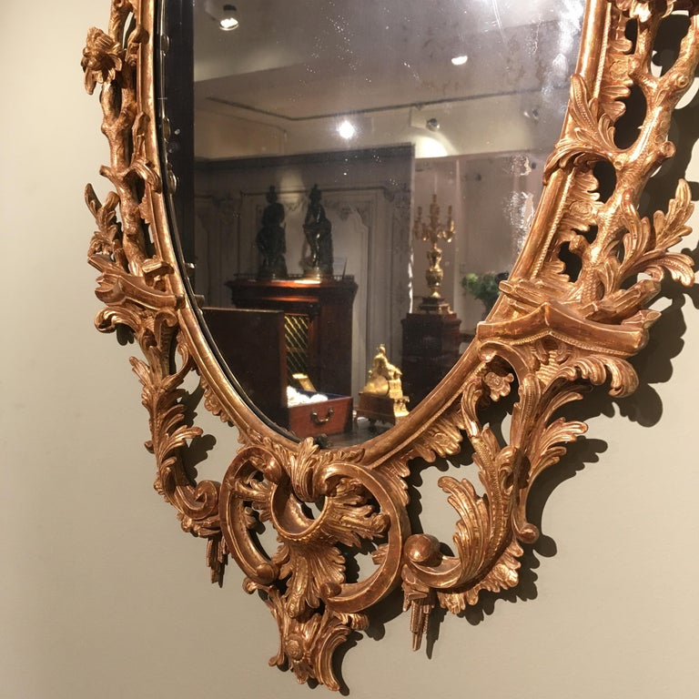 Pair of 19th Century English Giltwood Mirrors in the George III Style For Sale 2