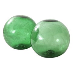 Pair of 19th Century English Green Hand Blown Glass Orbs