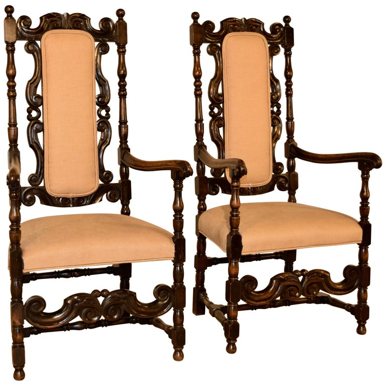 Pair of 19th Century English Hall Chairs For Sale