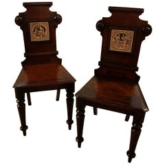 Pair of 19th Century English Hall Chairs with Minton Tiles