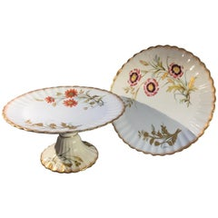 Pair of 19th Century English Hand Painted Compotes