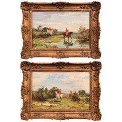 Pair of 19th Century English Hunt Scenes in Carved Frames Signed F. J. Knowles