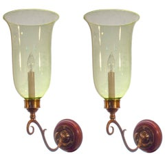 Pair of 19th Century English Hurricane Shade Sconces with Vaseline Tint