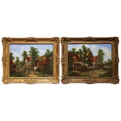 Pair of 19th Century English Landscape Oil on Canvas Paintings Signed Rogers