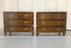 Pair of 19th Century English Mahogany Campaign Chests