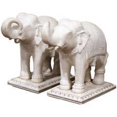 Pair of 19th Century English Marble Elephants Sculptures on Rectangular Bases