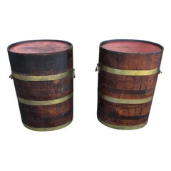 Pair of 19th Century English Oak Barrels as Tables