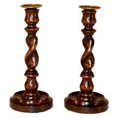 Pair of 19th Century English Oak Candlesticks