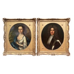 Pair of 19th Century English Oil on Canvas Portraits Paintings in Carved Frames