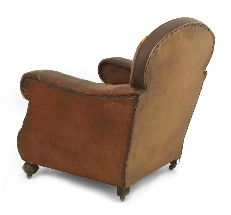 Pair of 19th Century English Oversized Brown Leather Club Chairs In Good Condition For Sale In New York, NY