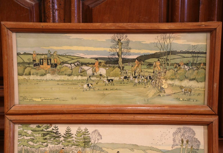These elegant antique wall hanging hunt scenes were painted in England, circa 1870. Each horizontal, framed painting features a hunt scene with hunters on horses and surrounded by a herd of dogs. Both illustrated artworks, signed Harry Eliott, are