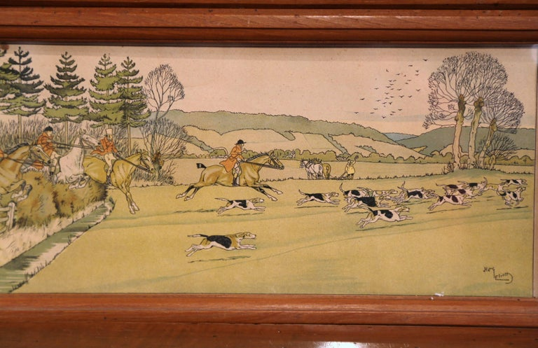 Hand-Painted Pair of 19th Century English Painted Hunt Scenes Watercolors in Walnut Frames For Sale