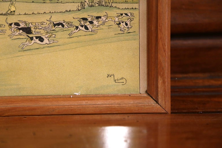 Pair of 19th Century English Painted Hunt Scenes Watercolors in Walnut Frames In Excellent Condition For Sale In Dallas, TX