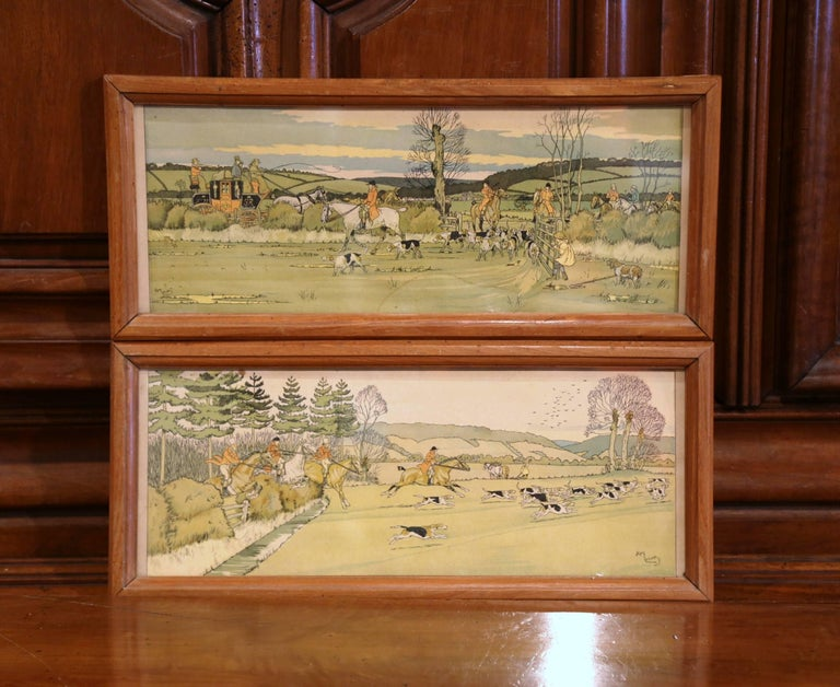 Pair of 19th Century English Painted Hunt Scenes Watercolors in Walnut Frames For Sale 1